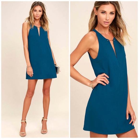 8afc93c50b03 Lulu s Dresses   Skirts - Lulu s Teal Blue Barbell Plunge Shift Dress